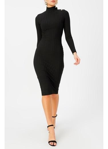 Random Kadın Düğme Deteylı Yarım Balıkçı Midi Elbise Siyah